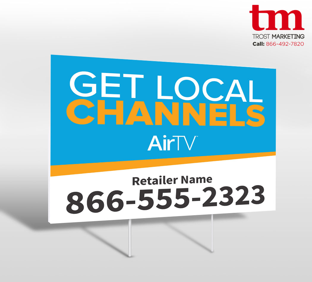Get Local Channels Blue Yard Sign DSH 51536
